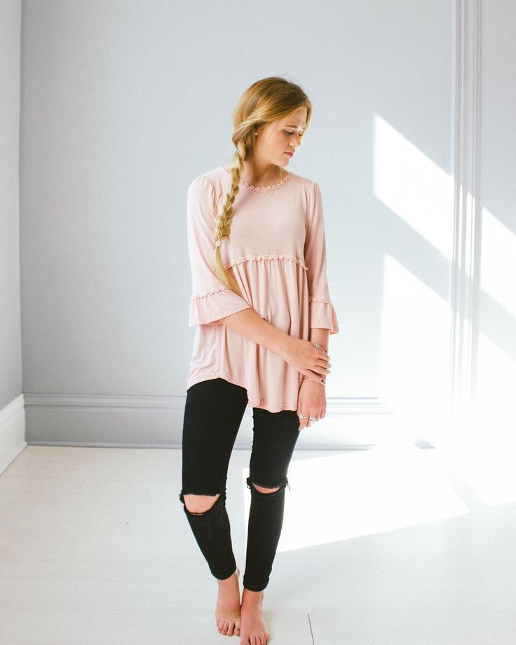 Pink knit swing top with lace trim and ruffle sleeves
