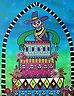 Mexican FOLK ART Day of the Dead Cowboy Hat Painting Flower_PRISTINE    Search PRISARTS on Ebay for new original paintings for sale and auction