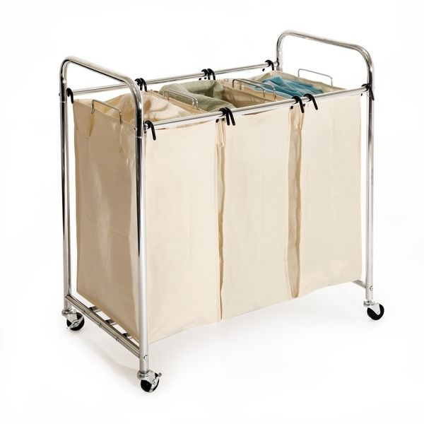 Take the hassle out of sorting with this heavy-duty Seville hamper. Three cotton laundry bags allow you to divide clothes by color as they are dirtied, so you don't have to worry about it on laundry d