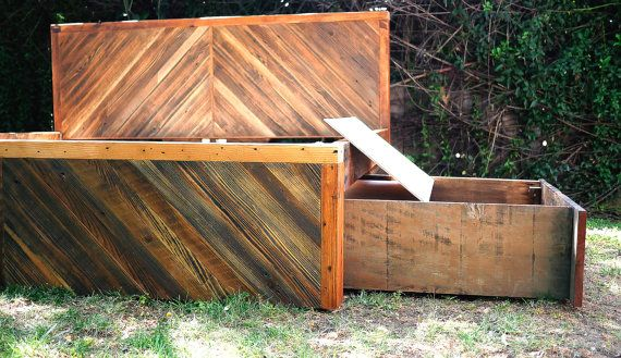 Modern rustic reclaimed king bed. Herringbone head and footboard detail with under storage drawers. All repurposed wood. Other bed frame sizes