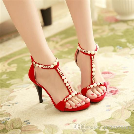 da sposa rosso con tacco peals perline di cristallo scarpe partito