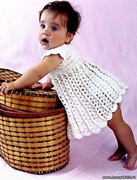 Платье и берет для девочки 1 год крючком выкройка