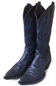 Luxurious Genuine Lizard Texan Western Country Women's Boots Sz 6.5 B Blue  | eBay
