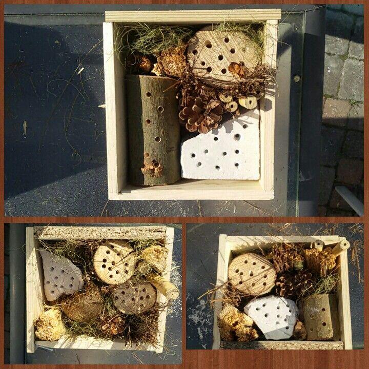 Insectenhotel maken met kinderen. Eerst een kastje timmeren met plankjes van ong. 20 cm. Aan de achterkant horgaas gedaan zodat alles erin blijft zitten. En dan vullen met natuurlijke materialen: boomstammetjes met gaten (samen met de kinderen er in geboord), dennenappels, takken, riet, stro, steen met gaten (ook boren), klei waar je gaten in maakt, opgerolde blaadjes, bamboe. Alles wat je in de natuur kunt vinden.