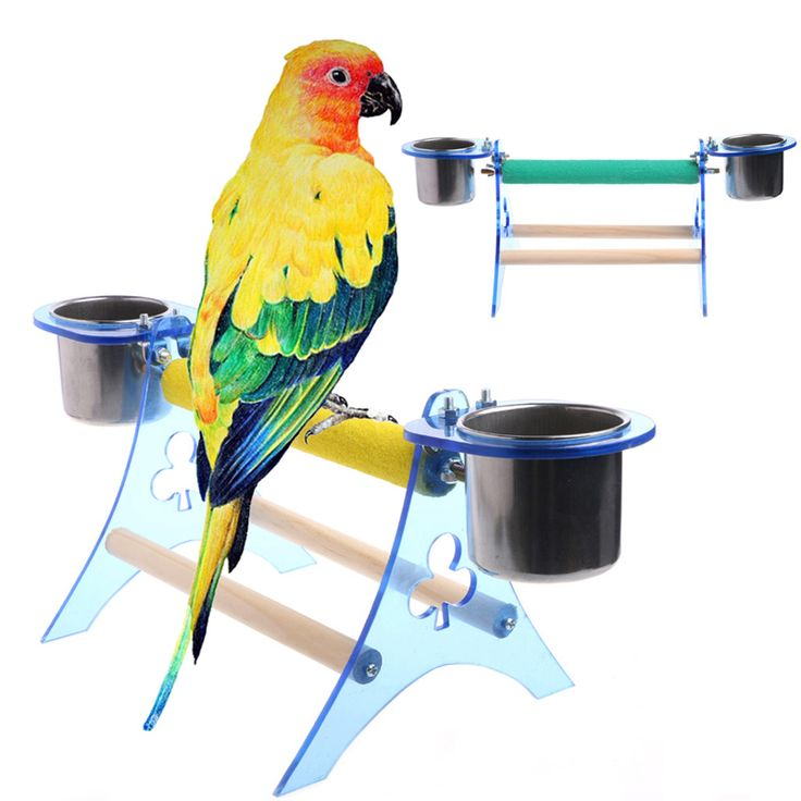 Parrot Perch Stand Platform Play Fun Toys Pet Wooden Playstand Cup For Bird Cage Non-slip Bird Stand Plateform 2017 #Affiliate