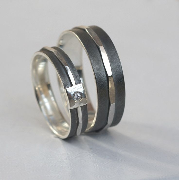 Textured - His and Hers Wedding Bands, Set of Matching Rings in Oxidized Sterling Silver by AnnaReiJewellery on Etsy https://www.etsy.com/listing/236273956/textured-his-and-hers-wedding-bands-set