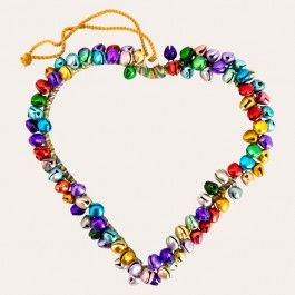 Warm your hearts knowing that Father Christmas is just around the corner, with this gorgeous heart-shaped decoration, embellished with multi-coloured bells that make a fun, jingly addition to your festive xmas.