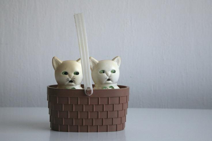 Vintage Russian Soviet Toy Kittens in Basket 1960s.