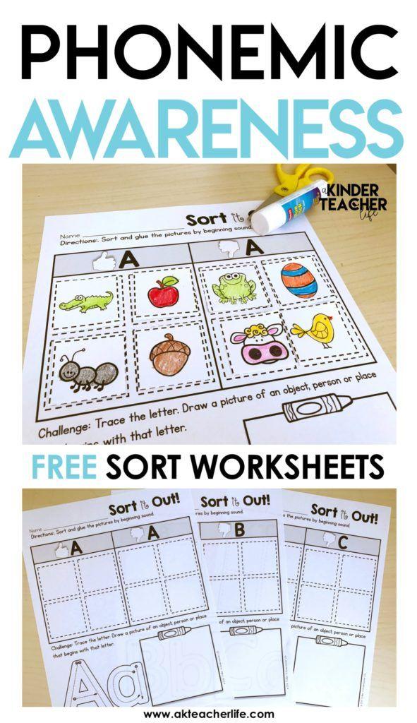 Free Phonemic Awareness Sorting Worksheets Phonics Kindergarten Phonemic Awareness Kindergarten Phonemic Awareness Phoneme activities for kindergarten