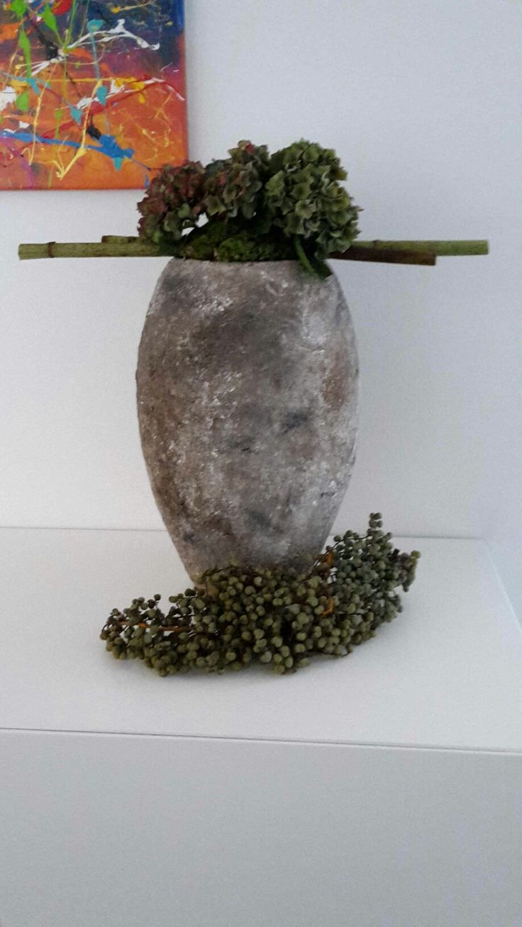 Eigen bewerkte pot met hortensia's