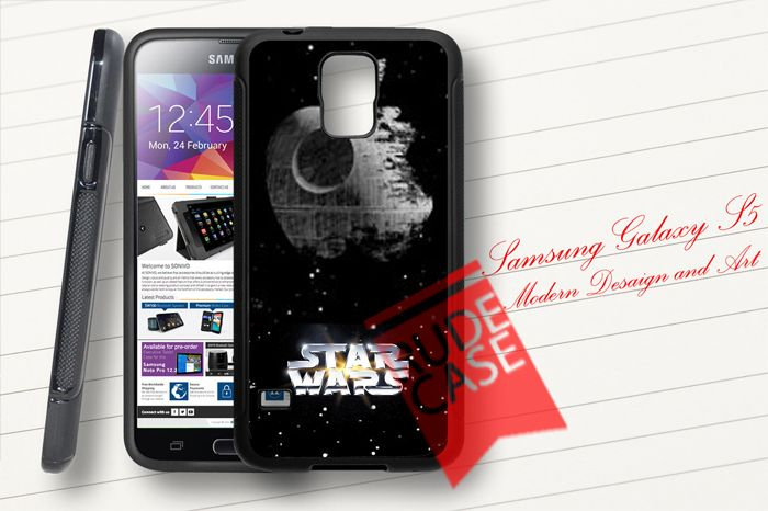 Samsung Galaxy S5 Custom STAR WARS DEATH STAR APPLE LOGO Rubber Case