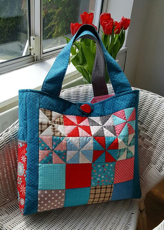 Pinwheel Patchwork Bag Pattern Scrappy Quilt Tote Bag Pattern Easy Bag Pattern PDF Sewing Pattern Instant Digital Download