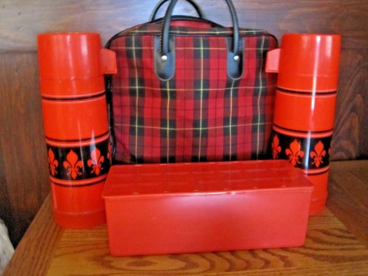 Vintage ALADDIN THERMOS SEARS red plaid lunch picnic set 2 thermos & lunch box    eBay