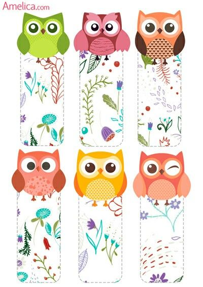 Printable owl bookmarks