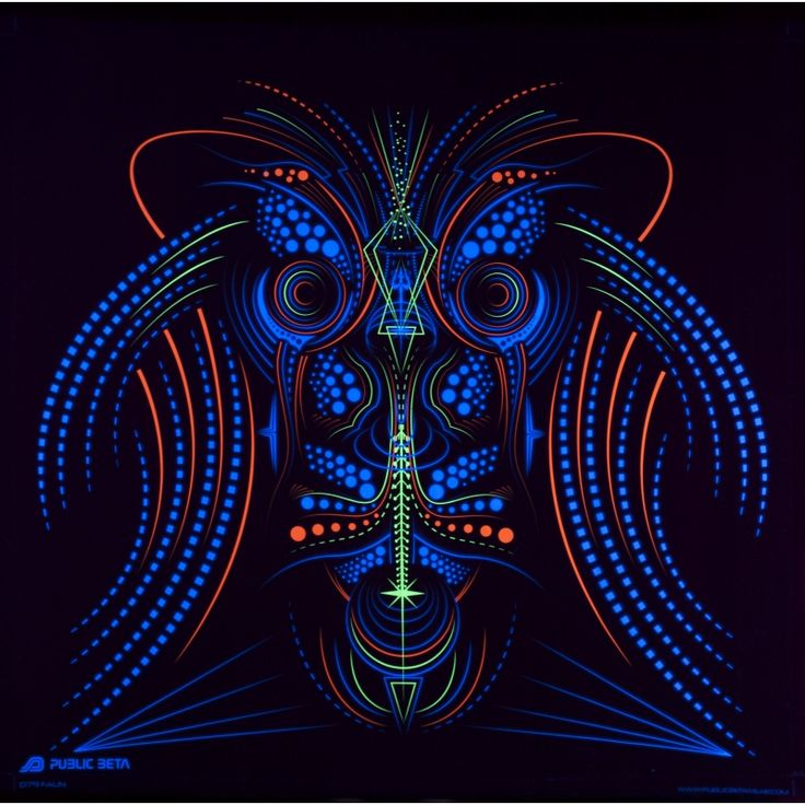 Faun UV D79 Wallhanging by Public Beta Wear  Psychedelic designs for wall deco. Glows in blacklight. 3D effect with special Chromadepth glasses.