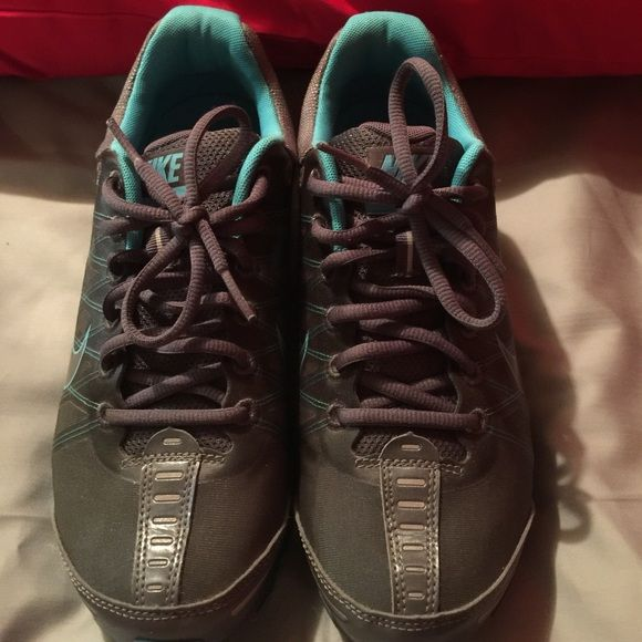 Nike Air Max sneakers Nike Air Max women's sneakers. Gently worn. Good condition. Grey and teal. No box. No trades. Nike Shoes Sneakers