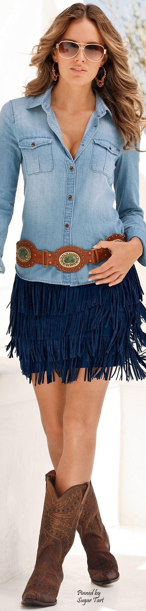 Fringe Skirt & Jean Shirt/Cowboy Boots