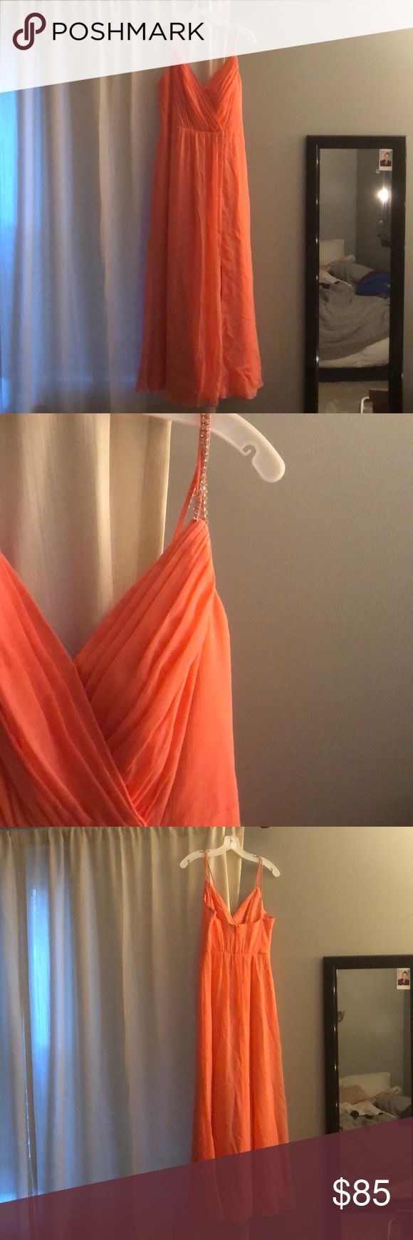 Formal/bridesmaid dress Long coral dress, sequined skinny strips. Hemmed for height 5'4 David's Bridal Dresses Wedding