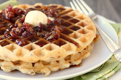 """Bacon Cheddar Waffles! ...not sure how I feel about the cheddar but I am all about """"bacon-kissed maple syrup"""""""