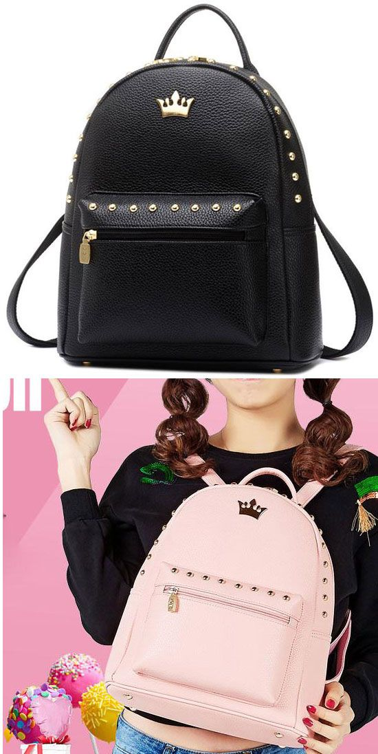 48fe1fd387 Leisure Lady Rucksack Punk Crown Rivet PU School Backpack for big sale!   punk