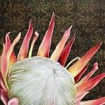Pink Protea on Brown Damask - 900x600 - R6000-00 - Oil on Canvas - Unframed