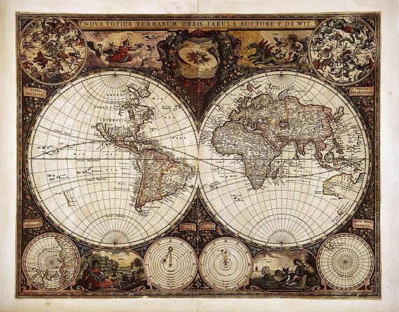 Antique world maps Old World Map illustration by vintagelarisa, $9.99