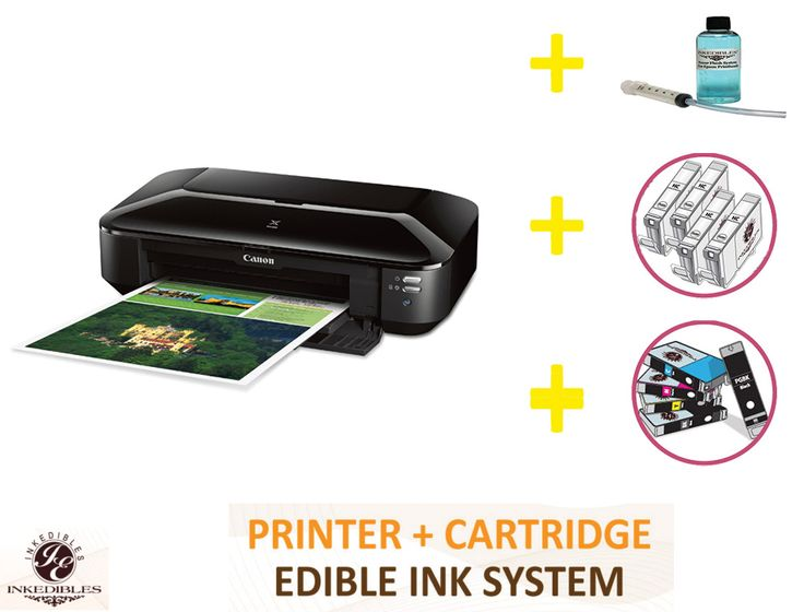 Professional deluxe package for #Canon pixma ix6820 bundled printing system that includes New printer + #Cartridges cleaner + #Edibleink cartridges + Professional flush system. Make this product yours at just $359.