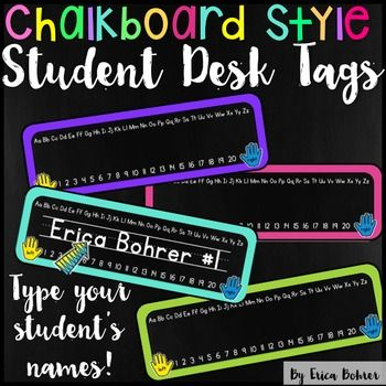 Free: This download contains a PDF file and a PowerPoint file for chalkboard and brights style student desk name tags.  You can type your students' names right on the name tags in the PowerPoint file.  I recommend downloading and installing KG Primary Penmanship Lined Font and have included a link to the font in the PDF of this packet.