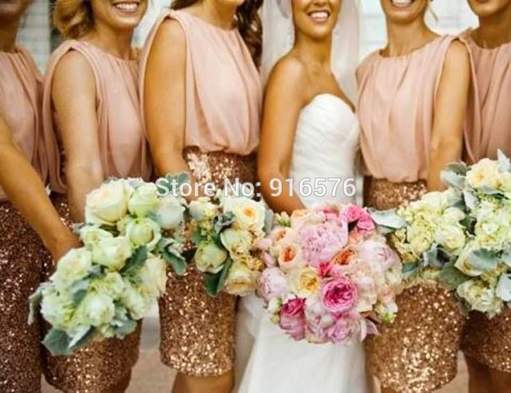 Romantic Bridesmaid Dresses 2015 Gold Sequin Sleeveless Sheath Knee Length Wedding Party Gowns Cheap Bridesmaid Gowns-in Bridesmaid Dresses from Weddings & Events on Aliexpress.com | Alibaba Group