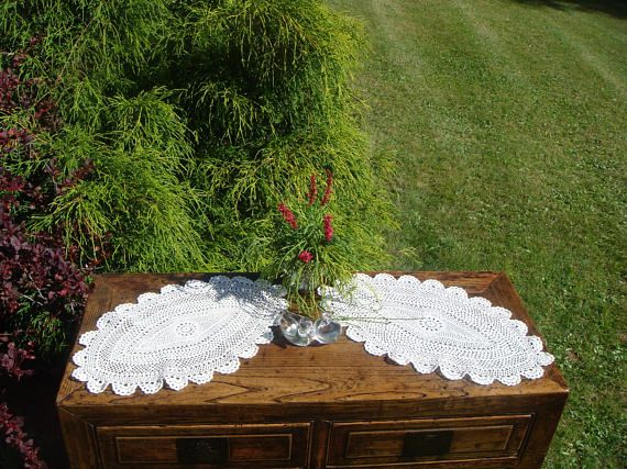 Vintage Crochet Set Oval Doilies in a set of 2  cream