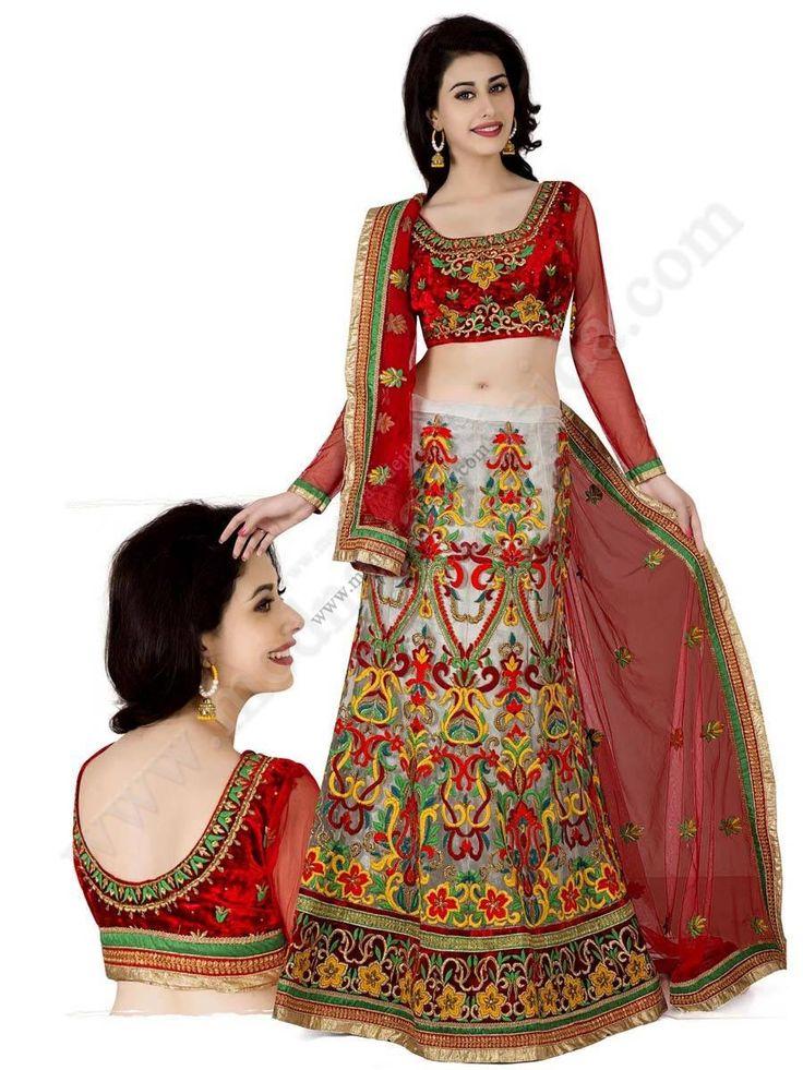 Серый и цвета кардинал индийский женский свадебный костюм — лехенга (ленга) чоли из фатина и бархатные, украшенный вышивкой, вышивкой люрексом, скрученной шёлковой нитью