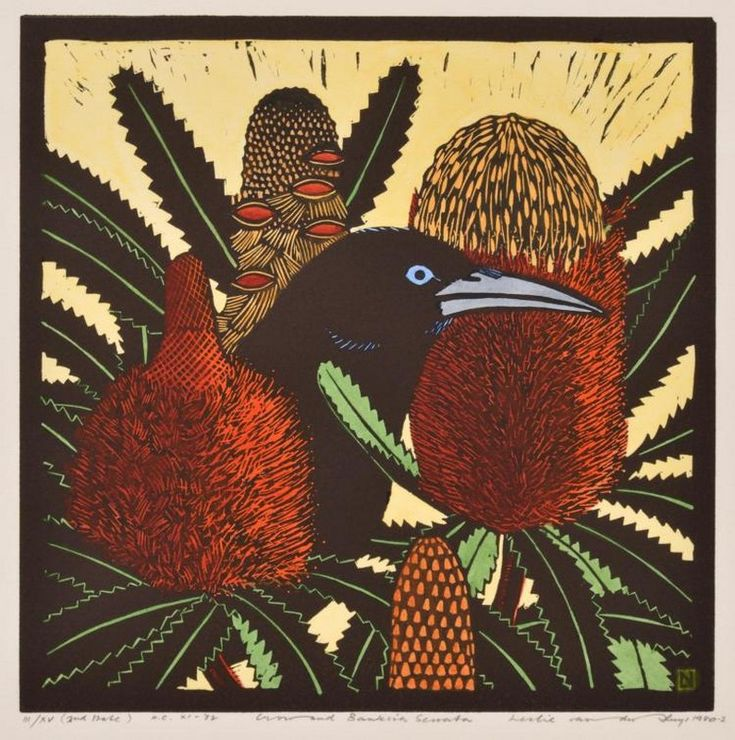Leslie Van Der Sluys, Crow and Banksia Serata, 1980. Hand-coloured linocut