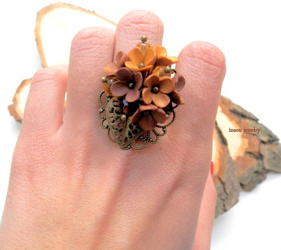 Flower Ring Flower Jewelry Brown Jewelry Handmade by insoujewelry