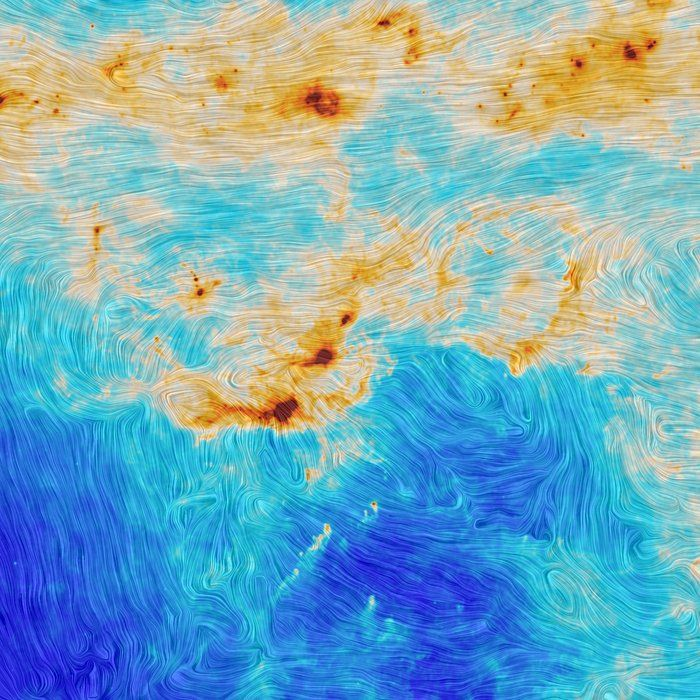 Star formation and magnetic turbulence in the Orion Molecular Cloud. This image combines a visualisation of the total intensity of dust emission, shown in the colour scale, with an indication of the magnetic field's orientation, represented by the texture. Blue hues correspond to regions with little dust, while the yellow and red areas reflect denser (and mostly hotter) clouds containing larger amounts of dust, as well as gas.