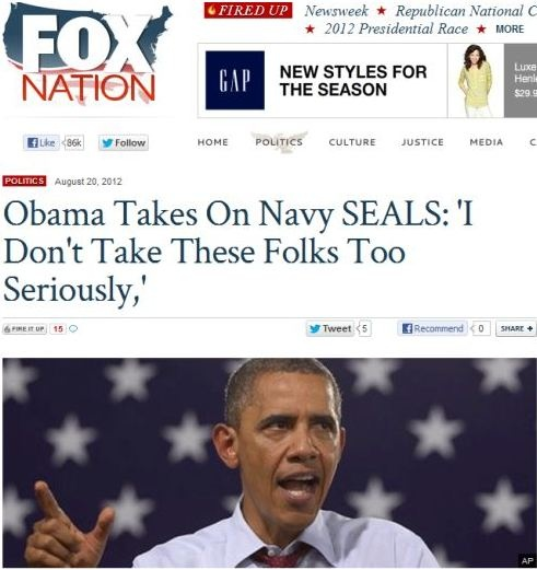 Fox posts a highly misleading headline suggesting Obama insulted Navy SEALS. But the Politico article they link to reveals Obama commented on two specific veteran groups with Birther/Tea Party ties, who recently ran super PAC ads against him.Insults Navy, Misleading Headlines, High Misleading, Tea Parties, Foxes Post, Navy Seals, Foxes News, Obama, Faux News