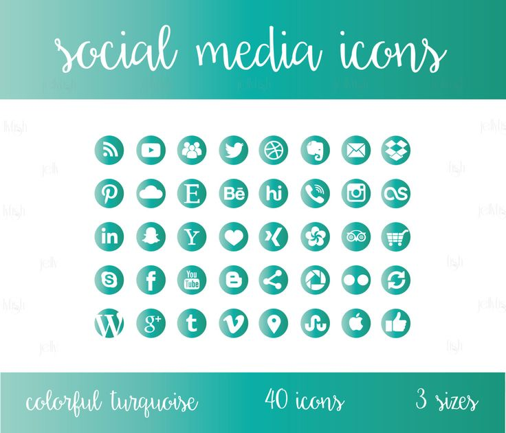 Social Media Icons Set Turquoise Blue Green by jellyfishfish
