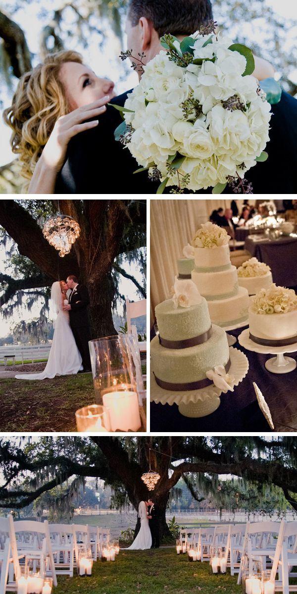 """Love the chandelier hanging over the """"alter"""" at their ceremony! Can you believe the bride DIY'd that?"""