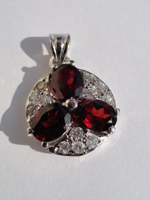 Maroon Garnet Stone Pendant Rhodium Plated for by beadsincredible, $34.99