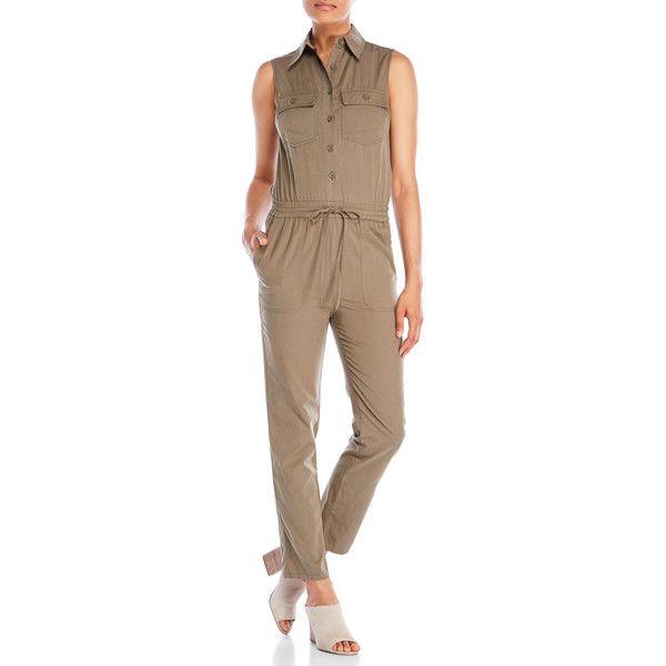 Max Studio Sleeveless Safari Jumpsuit ($60) ❤ liked on Polyvore featuring jumpsuits, green, brown jumpsuit, green jumpsuit, jump suit, max studio jumpsuit and sleeveless jumpsuits