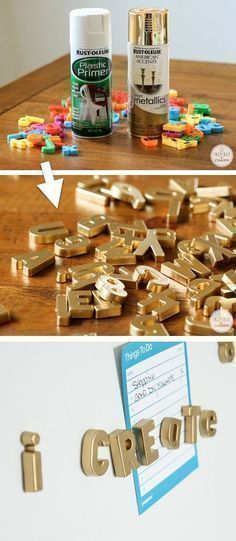 Home Design Ideas: Home Decorating Ideas For Cheap Home Decorating Ideas For Cheap DIY Gold Magnetic Letters (cool idea for the fridge!) -- Home decor ideas for ch...