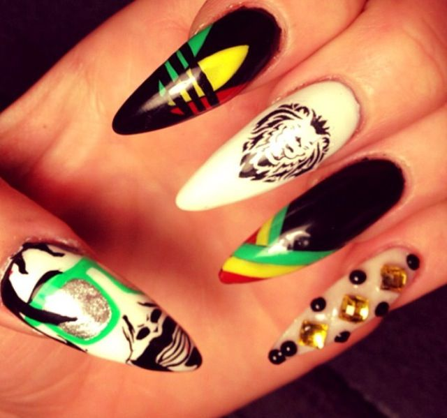 Rasta Nails Nail Mania Pinterest Rasta Nails Nails And So Cute