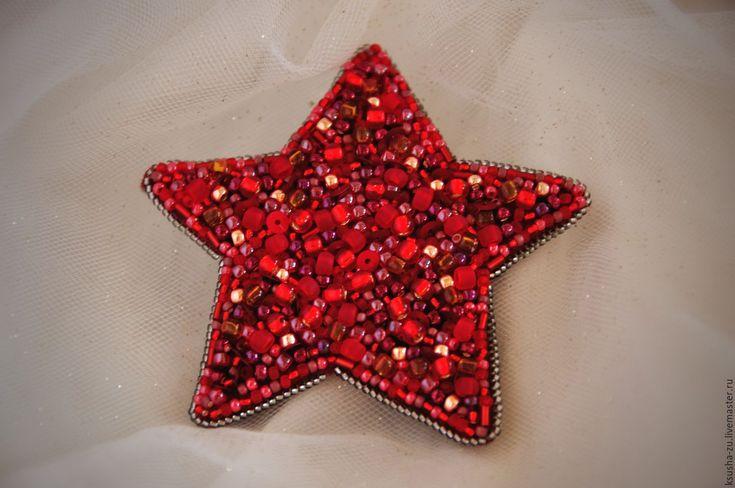 """Купить Брошь """"Звезда"""" японский бисер - ярко-красный, украшения ручной работы"""