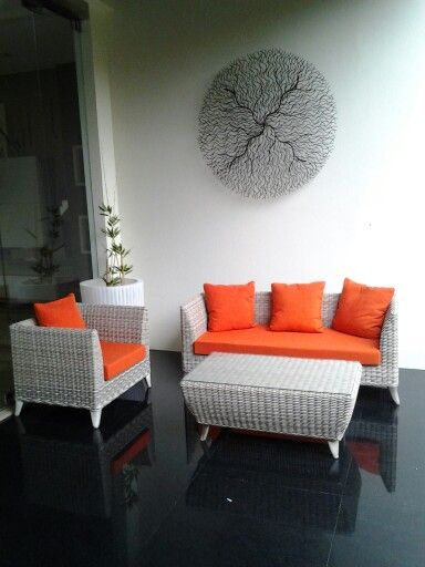 Almunium frame.. Rattan synthetic wicker Kubu grey  Cushion & pillow sweet orange
