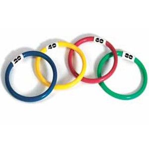The classic dive and retrieval pool game. Weighted rings stand upright on the pool floor. Easy for kids to pick up. Great swimming lesson aid. Set of 4 coloured rings. Approx. 15cm diameter.