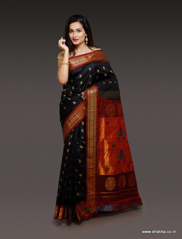 This Urvi Black Paithani Silk Saree designed in black spells the magic in the combination of magical maroon. The zari work is used to give the glittering night start effect on this day drape. This paithani silk saree is sure to be a must have collection for every woman.