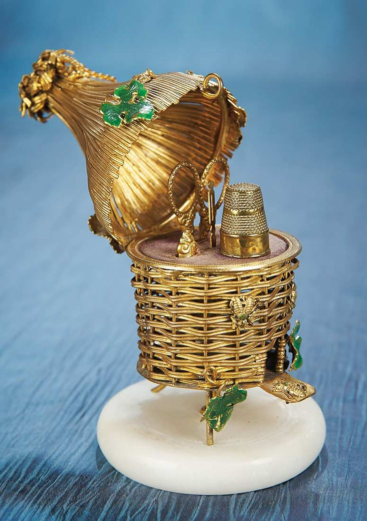 French Napoleon III Gilt Sewing Necessaire in the Shape of a Beehive -1860