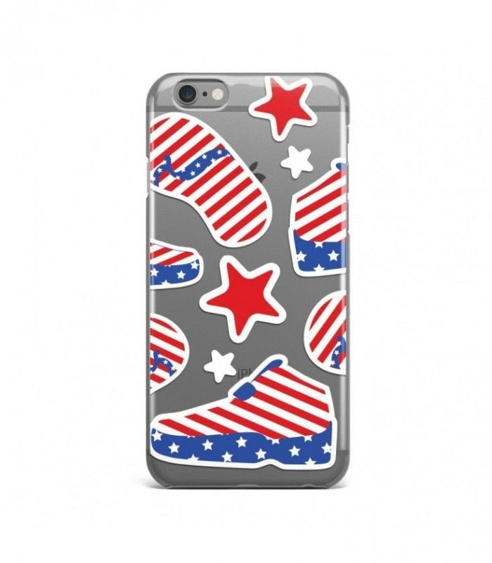Slipper and Shoe American Pattern Clear or Transparent Iphone Case for Iphone 3G/4/4g/4s/5/5s/6/6s/6s Plus - USA0074 - FavCases