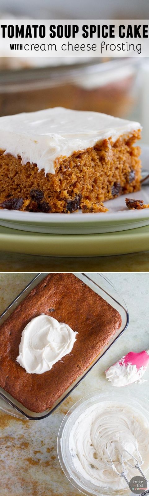 You would never guess that a can of tomato soup is the secret ingredient in this retro cake! A recipe that has been around for decades, this Tomato Soup Spice Cake Recipe with Cream Cheese Frosting is so simple yet a total crowd favorite.