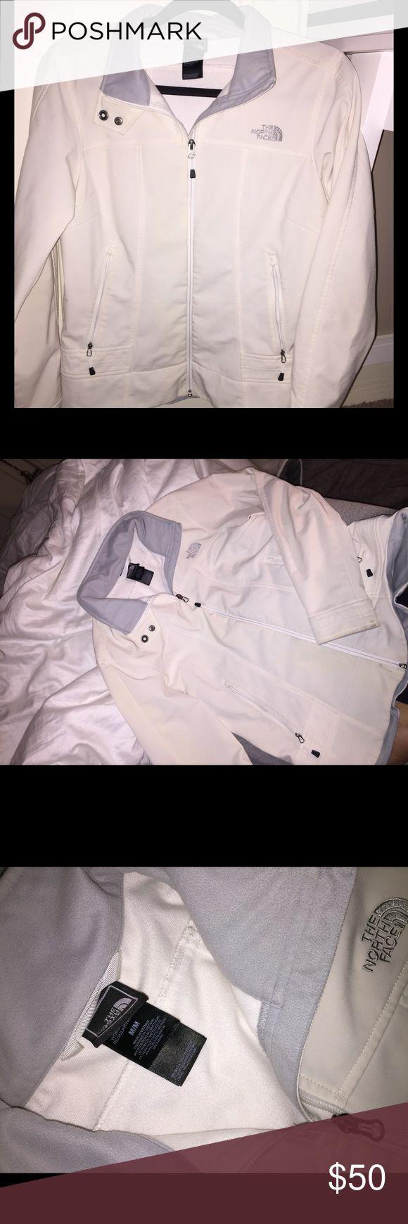 North Face Jacket Women's Medium White North Face zip up jacket, like new 😍 North Face Jackets & Coats Utility Jackets
