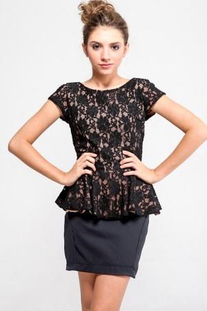 black peplum lace